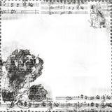 Música con las flores y marco o recubrimiento de la mariposa ilustración del vector