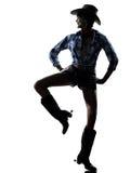 Música country feliz del baile del bailarín de la muchacha de la vaca de la mujer Foto de archivo