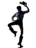 Música country feliz del baile del bailarín de la muchacha de la vaca de la mujer Fotografía de archivo