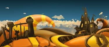 Música da noite Panorama da paisagem dos desenhos animados vetor 3d imagens de stock
