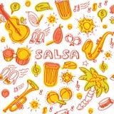 Música da salsa e ilustração da dança com instrumentos musicais, palmas, etc. Fotos de Stock Royalty Free