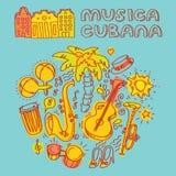 Música da salsa e ilustração da dança com instrumentos musicais, palmas, etc. Fotografia de Stock