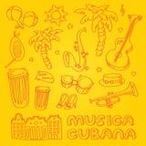 Música da salsa e ilustração da dança com instrumentos musicais, palmas, etc. Fotografia de Stock Royalty Free
