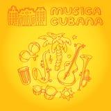 Música da salsa e ilustração da dança com instrumentos musicais, palmas, etc. Imagens de Stock