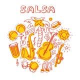 Música da salsa e ilustração da dança com instrumentos musicais, palmas, etc. Foto de Stock Royalty Free