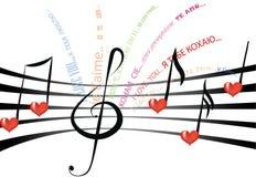 Música de amor em línguas diferentes Imagem de Stock