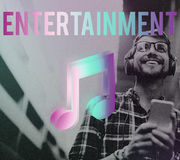 Música de Digitaces que fluye concepto en línea de los medios del entretenimiento foto de archivo libre de regalías