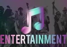 Música de Digitas que flui o conceito em linha dos meios do entretenimento foto de stock royalty free