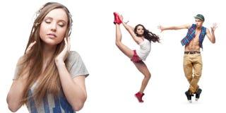 Música de escuta da jovem mulher e dois dançarinos no fundo Fotos de Stock Royalty Free