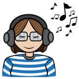 Música de escuta da menina Imagens de Stock Royalty Free