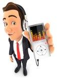 música de escuta do homem de negócios 3d no leitor de mp3 Foto de Stock Royalty Free