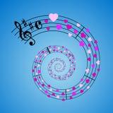 Música de folha dos corações Imagens de Stock Royalty Free