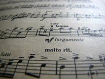 Música de hoja Cierre para arriba retro foto de archivo libre de regalías
