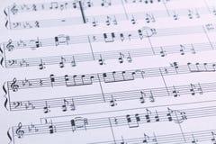 Música de hoja del piano Fotos de archivo