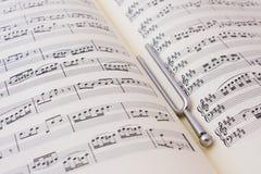 Música de hoja y diapason Foto de archivo