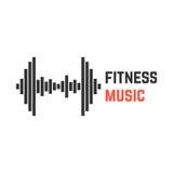 Música de la aptitud con el equalizador de la pesa de gimnasia Foto de archivo libre de regalías