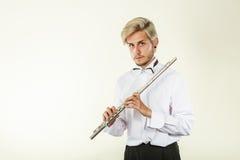 Música de la flauta que juega al ejecutante del músico del flautista Fotografía de archivo