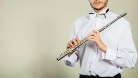 Música de la flauta que juega al ejecutante del músico del flautista Fotos de archivo