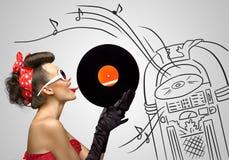 Música de la máquina tocadiscos Fotos de archivo