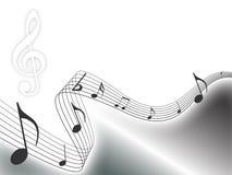 A música de prata nota o fundo Foto de Stock Royalty Free