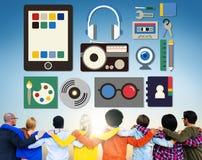 A música de rádio dos filmes dos meios utiliza ferramentas o conceito imagens de stock