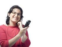 Música del mp3 de la tecnología de la mujer Fotos de archivo libres de regalías