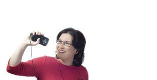 Música del mp3 de la tecnología de la mujer Fotos de archivo