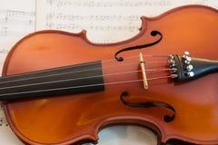 Música del violín y de hoja Foto de archivo libre de regalías