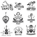A música diferente denomina emblemas retros Fotografia de Stock