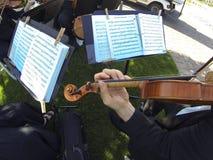 Música do casamento fornecida por um quarteto de cordas foto de stock