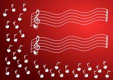 A música do coração anota o canto Imagens de Stock