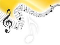 A música do ouro nota o fundo Fotos de Stock Royalty Free