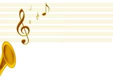 Música dourada Imagens de Stock Royalty Free