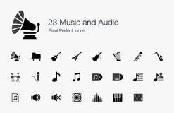 Música 23 e ícones perfeitos do pixel audio Foto de Stock