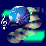 Música e Cd do mundo do Internet Imagens de Stock
