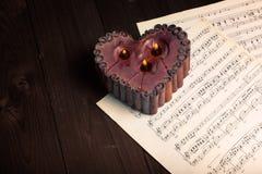 Música e coração imagens de stock