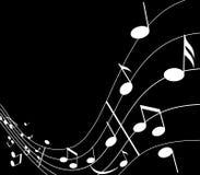 Música e música no preto Ilustração Stock