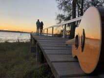 Música en directo de la puesta del sol imágenes de archivo libres de regalías