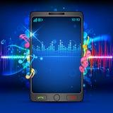 Música en el teléfono móvil Imagen de archivo libre de regalías