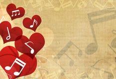 Música en fondo del corazón Fotografía de archivo libre de regalías