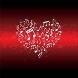 Música en fondo del corazón Fotos de archivo libres de regalías