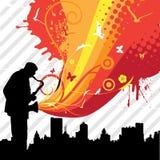 Música en la ciudad stock de ilustración