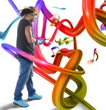 Música en ondas coloridas Imagenes de archivo