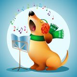 Música engraçada do Natal do canto do cão em capas protetoras para as orelhas de um lenço e da pele Imagens de Stock