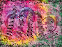 Música floral ilustração royalty free