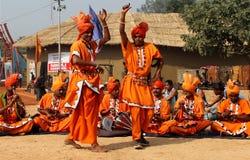 Música folk e dança de encantadores de serpente de Haryana, Índia Imagem de Stock