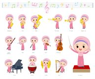 Música girl_classic de Hijab do árabe ilustração do vetor