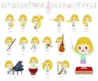 Música girl_classic do cabelo louro ilustração stock