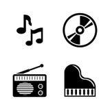 Música Iconos relacionados simples del vector Foto de archivo