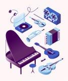 Música, ilustração isométrica do vetor, grupo do ícone 3d, fundo branco Piano, baixo, guitarra, acordeão, trombeta, violino ilustração stock